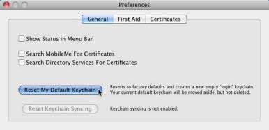 reset keychains