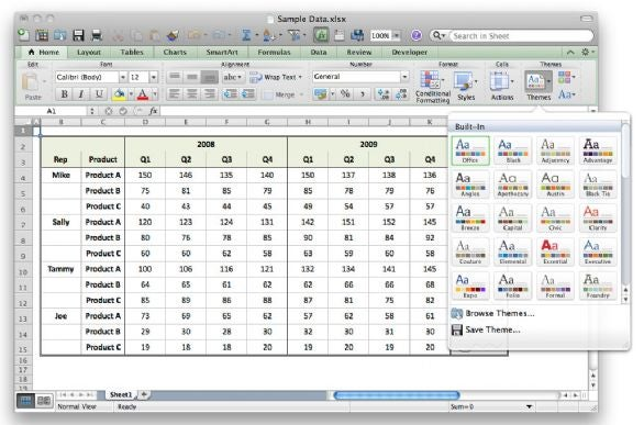 Excel 2011 Themes