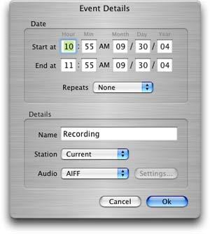 RadioShark recording window