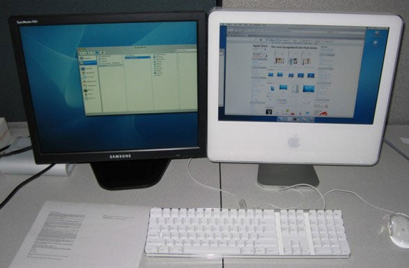 Image of iMac G5 with DVI LCD display connected