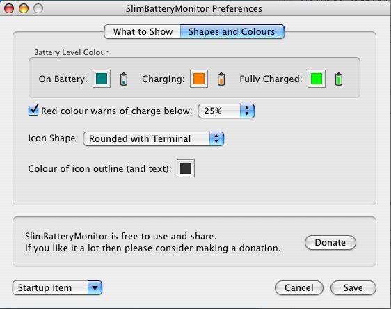 SlimBatteryMonitor preferences dialog