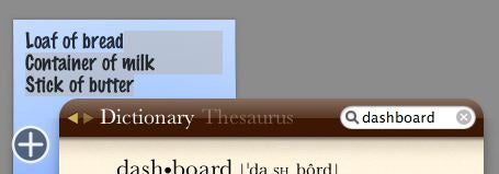 Dictionary and Stickies widgets