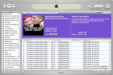 itunes podcasting interface