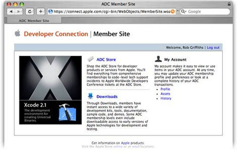 Apple Developer Connection main page
