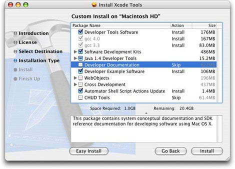 Developer Tools Installer customization screen