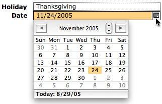 FilMaker 8 drop down calendars