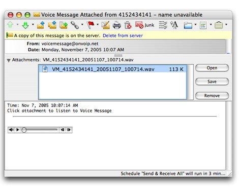 VoIP email notification