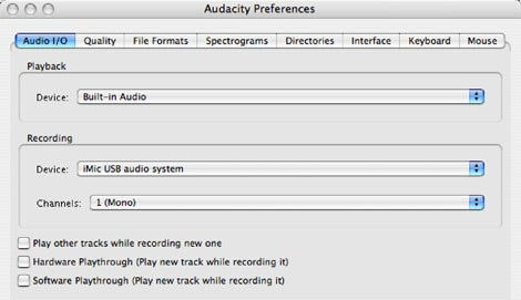 Audacity preferences for podcasting