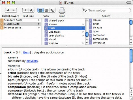 iTunes scripting dictionary