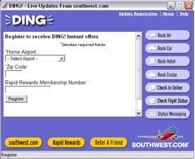 ding registration screen