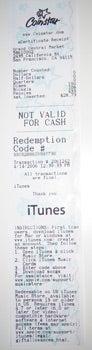 Coinstar iTunes receipt