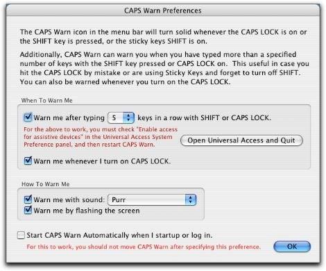 CAPS Warn menu item