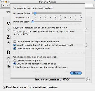 Zoom option in Universal Access