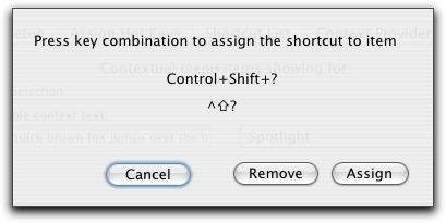 Shortcuts keyboard shortcut dialog