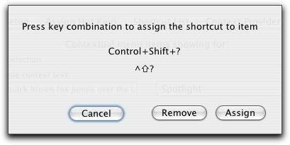 Shortcuts keyboard shortcut dialog