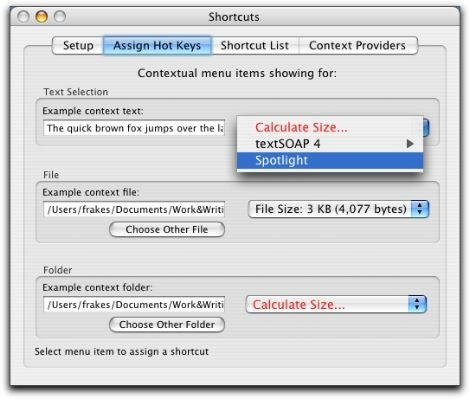 Shortcuts main window