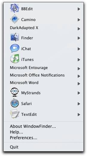 WindowFinder menu