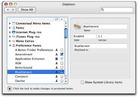 Diablotin System Preferences BlueHarvest