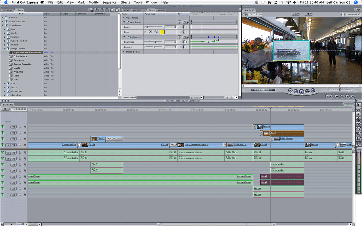 The layout for Final Cut Express