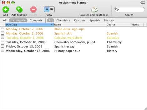 Assignment Planner list