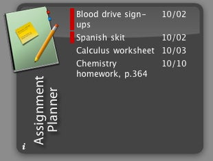 Assignment Planner widget