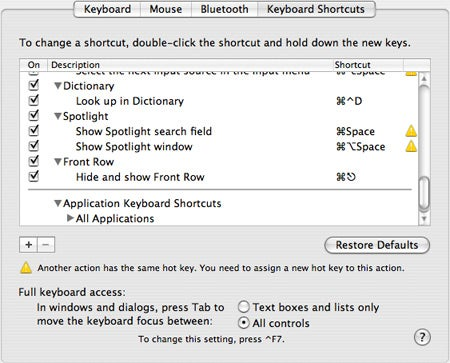 Front Row keyboard shortcut disabled