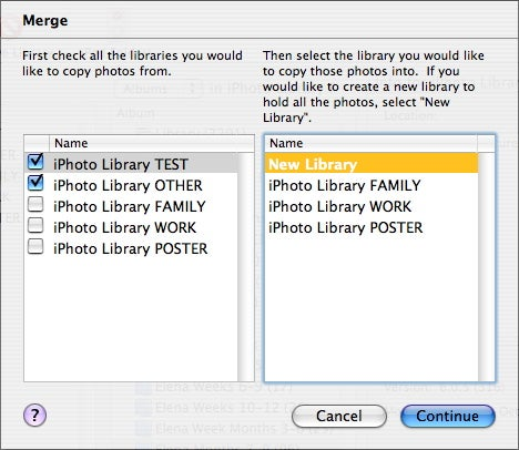 iPhoto Library Manager merge feature
