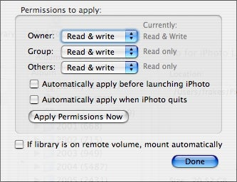 iPhoto Library Manager permissions