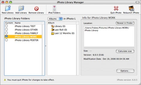 iPhoto Library Manager main window
