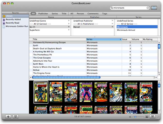 ComicBookLover Interface