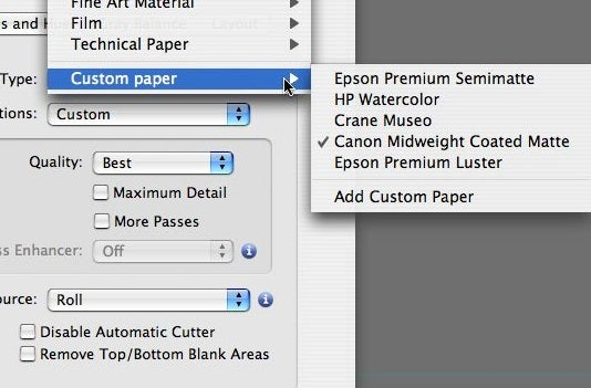 Custom papers added
