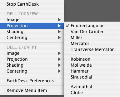 EarthDesk menu-bar menu