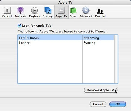 remove apple tv