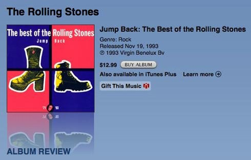 Rolling Stones screen in iTunes
