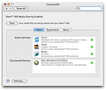 The Connect360 controls show up in your system preferences and provide you with simple access to the software's features.