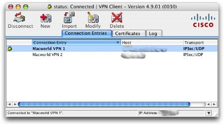 Cisco VPN client window