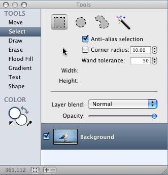 Acorn tools palette