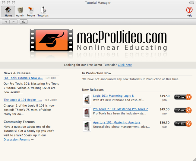 MacProVideo home screen