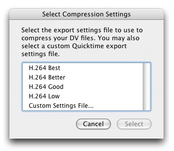 iMovie '08 Library Compressor Settings