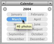 iPhoto 5 Calendar pane