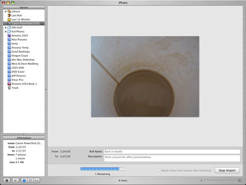 more iPhoto 5 import mode