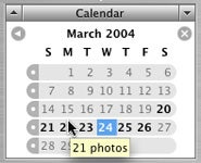 iPhoto 5 Calendar monthly view