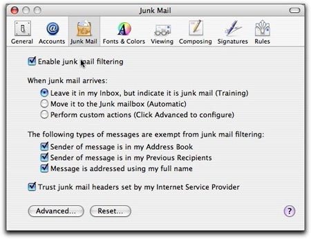 Tiger Mail Junk Preferences