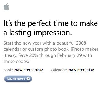 A portion of the iPhoto coupon offer e-mail.