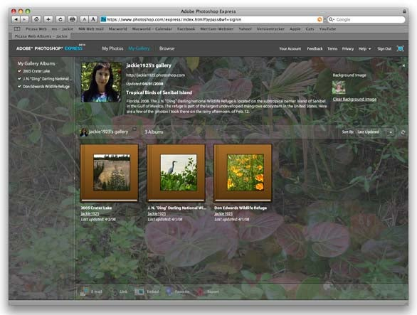Adobe Photoshop Express grid view