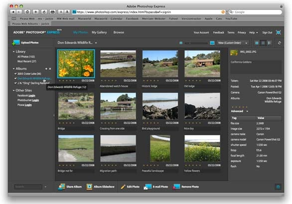 Adobe Photoshop Express grid view