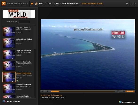 Interfaz Adobe Media Player