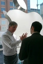 Apple   senior vice president for retail, Ron Johnson, introduced the new store at a media event.