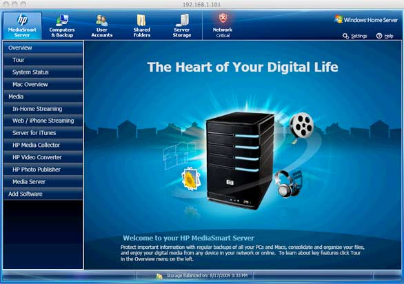 HP MediaSmart Server software for Mac