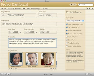 Filemaker offers bento 3 project manager macworld for Bento database templates